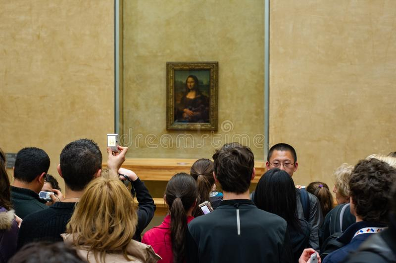 The mona lisa at the louvre stock photos