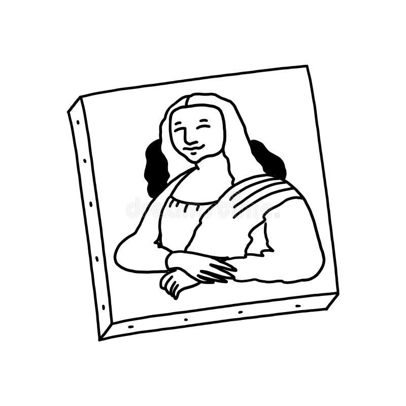 Mona Lisa maluje czarny i biały ilustrację royalty ilustracja