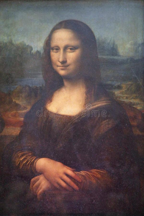 `Mona Lisa` or `Mona Lisa` painting by Leonardo da Vinci in the Louvre Paris, France, oil on Board of poplar.. stock photography