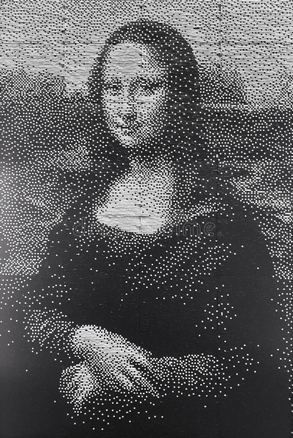 Mona Lisa monochrome artwork portrait stock images