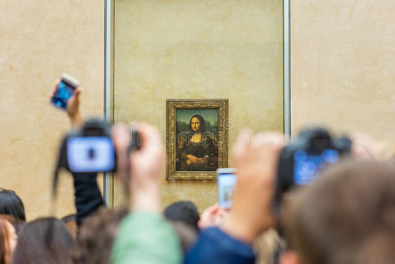 Mona Lisa no museu do Louvre fotografia de stock royalty free