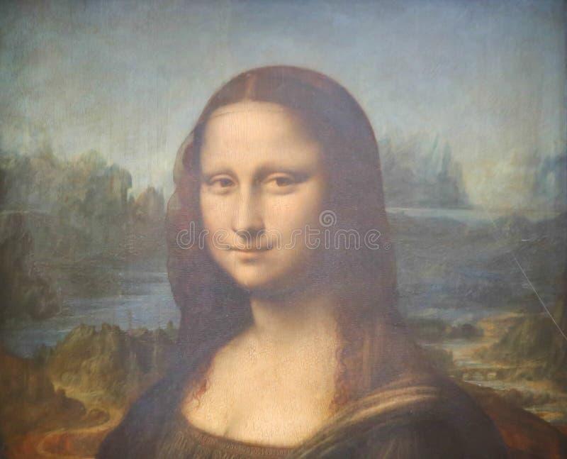 Mona Lisa - no museu do Louvre foto de stock