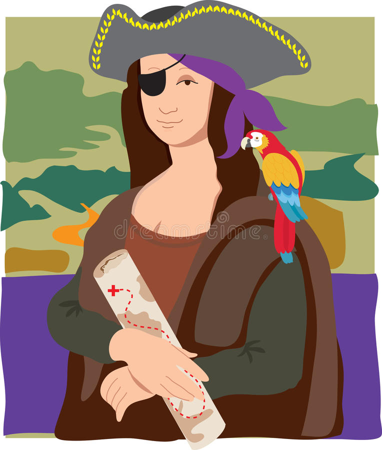 Download Mona Lisa Pirate stock vector. Image of hands, parrot - 19071518