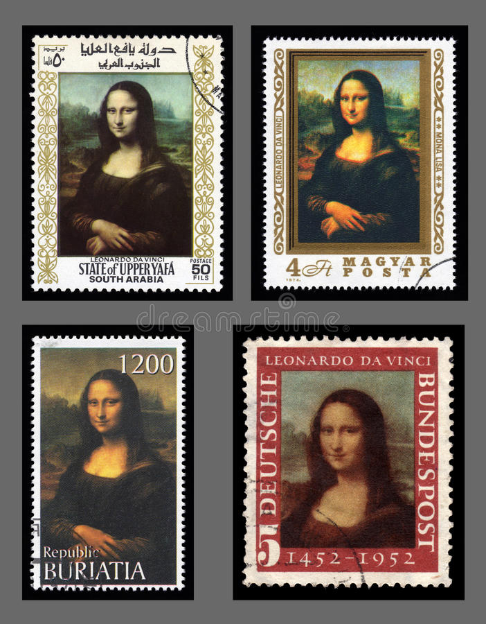 Mona Lisa postage stamps. Collection of postage stamp with a portrait image of the smiling Mona Lisa by the medieval Renaissance artist and inventor Leonardo Da royalty free stock photography