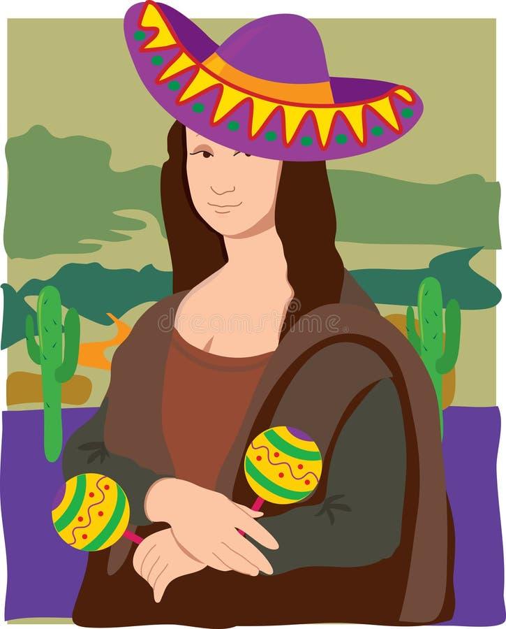 Mona Lisa Sombrero royalty free illustration