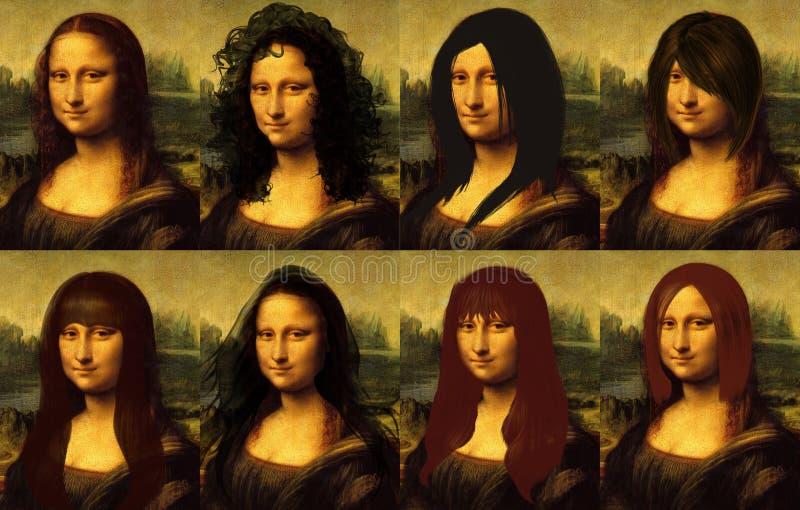 Mona Lisa włosy royalty ilustracja