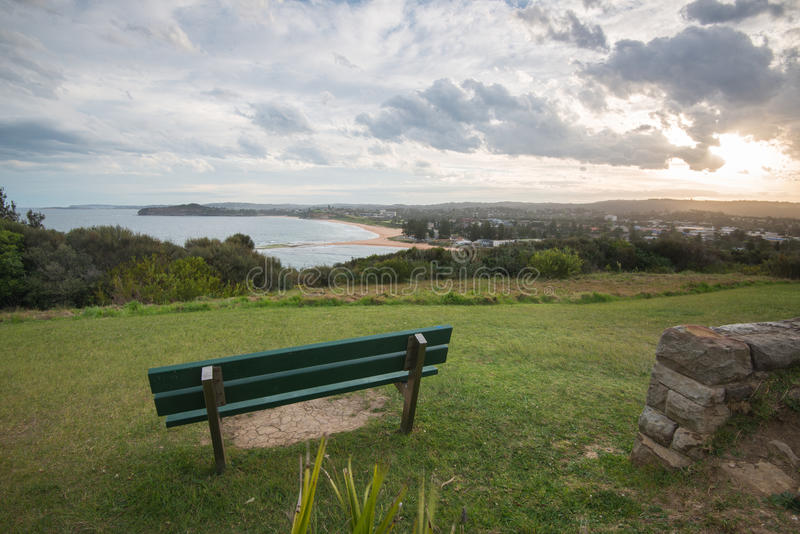 Mona Vale Headland-zonsondergang, Mona Vale, NSW, Australië stock afbeelding
