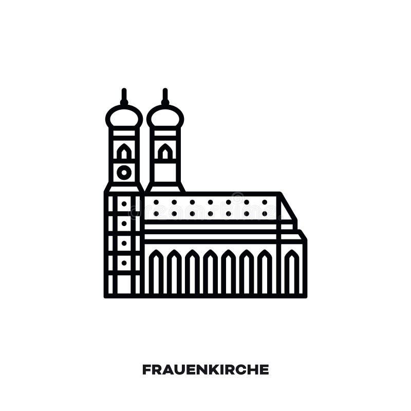 Monachium Frauenkirche, Bavaria, Niemcy wektor linii ikona ilustracja wektor