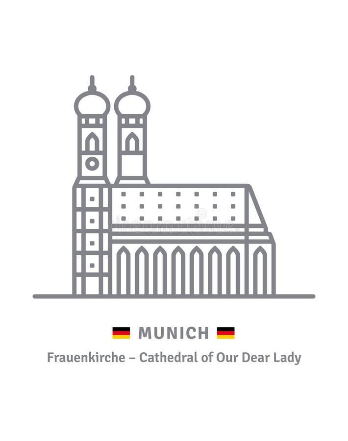 Monachium Frauenkirche i niemiec chorągwiana wektorowa ikona ilustracja wektor