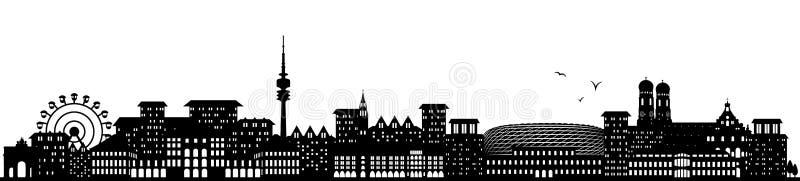 Monachium Germany linii horyzontu czerń odizolowywający ilustracji