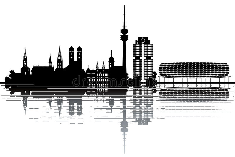 Monachium linia horyzontu royalty ilustracja