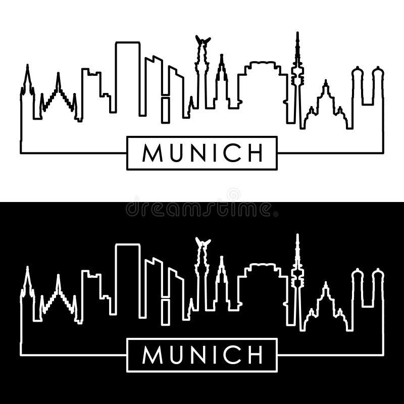 Monachium linia horyzontu liniowy styl royalty ilustracja