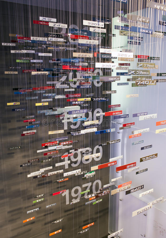 MONACHIUM NIEMCY, CZERWIEC, - 1, 2012: colourful oczywisty stół rok uwolnienie i modele samochody przy ekspozycją BMW muzeum fotografia royalty free