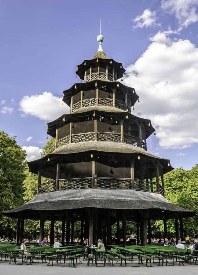 MONACHIUM NIEMCY, WRZESIEŃ, - 07, 2014: Biergarten blisko chińczyka wierza w Angielskim ogródzie na Wrześniu 07, 2014 w Monachium obraz stock