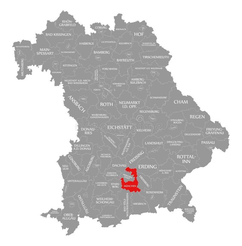 Monachium okręgu administracyjnego czerwień podkreślająca w mapie Bavaria Niemcy royalty ilustracja