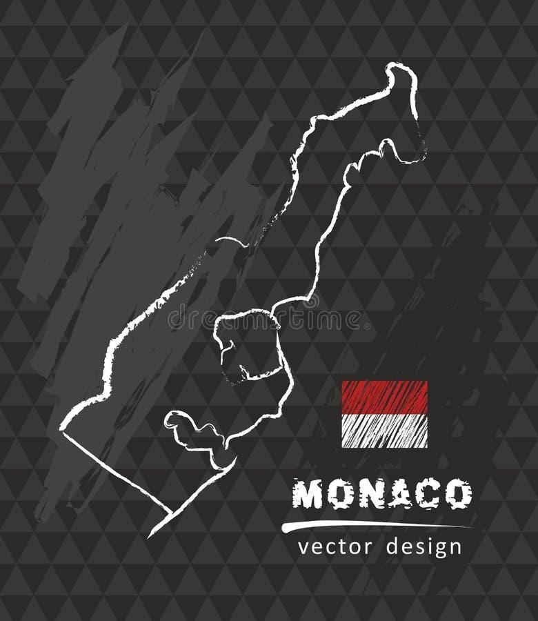 Monaco översikt, vektorteckning på svart tavla stock illustrationer