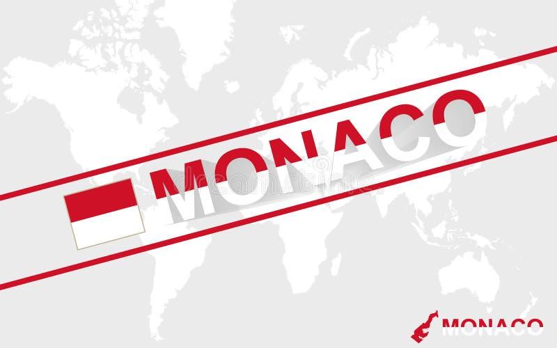 Monaco översiktsflagga och textillustration vektor illustrationer