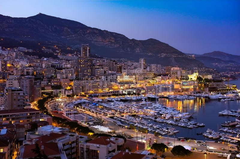 Monaco and the Mediterranean. Night time scene of Monaco and the Marina stock images