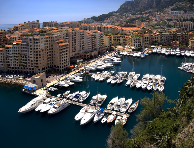 Monaco. Aerial view of monaco and yachts stock photography