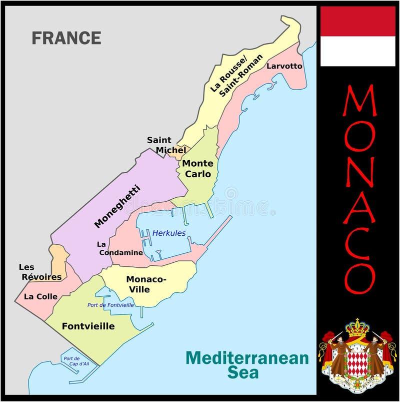 Monaco administrativa uppdelningar royaltyfri illustrationer