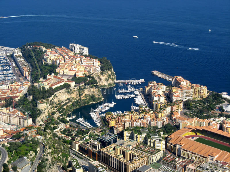 Monaco, aerial view of Fontvieille. Aerial view of Monaco districts of Fontvieille and Rocher royalty free stock image