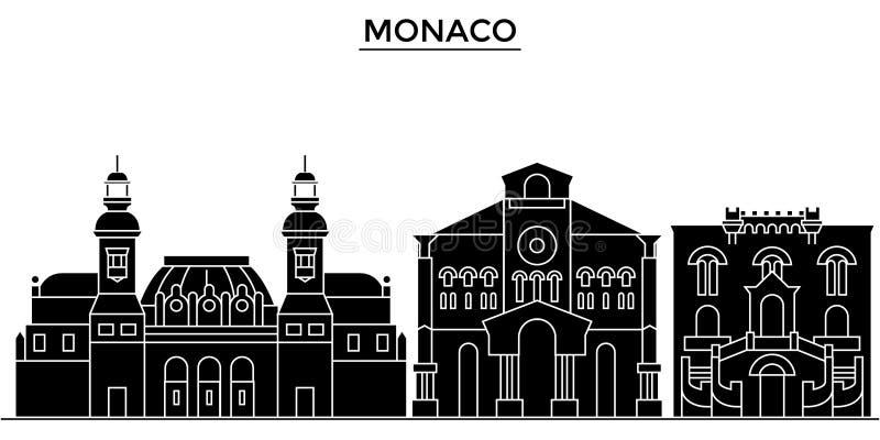 Monaco architektury miasta wektorowa linia horyzontu, podróż pejzaż miejski z punktami zwrotnymi, budynki, odosobneni widoki na t ilustracja wektor
