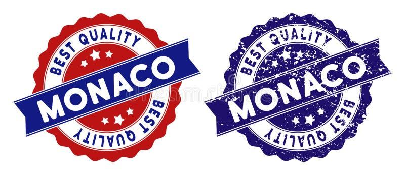 Monaco bästa kvalitets- stämpel med smutsig textur royaltyfri illustrationer