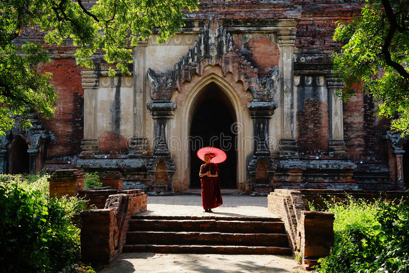Monaco in Bagan, Myanmar immagini stock libere da diritti