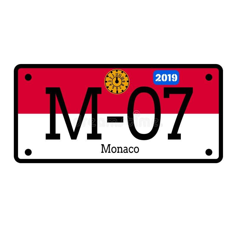 Monaco bilregistreringsskylt på vit bakgrund royaltyfri illustrationer