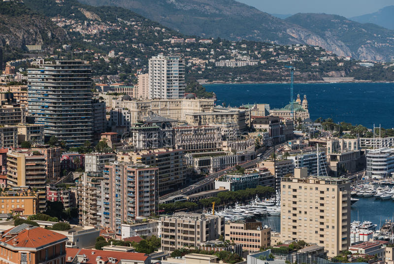 Monaco Buildings I. A picture of a set of apartment buildings of Monaco, taken from its famous Jardin Exotique royalty free stock images