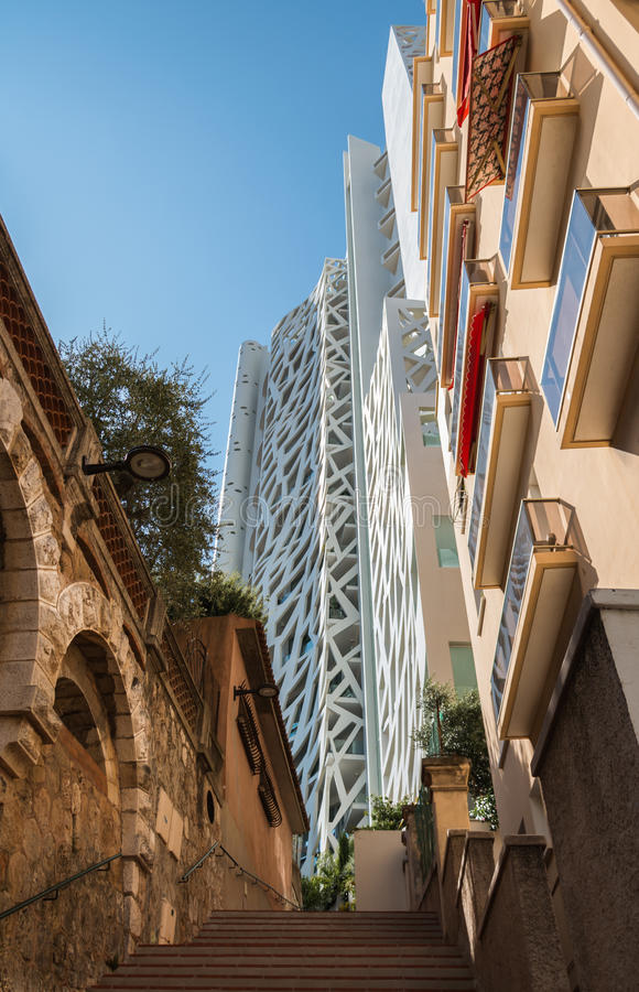 Monaco Buildings II. A picture of a set of different-styled apartments and buildings in Monaco stock image