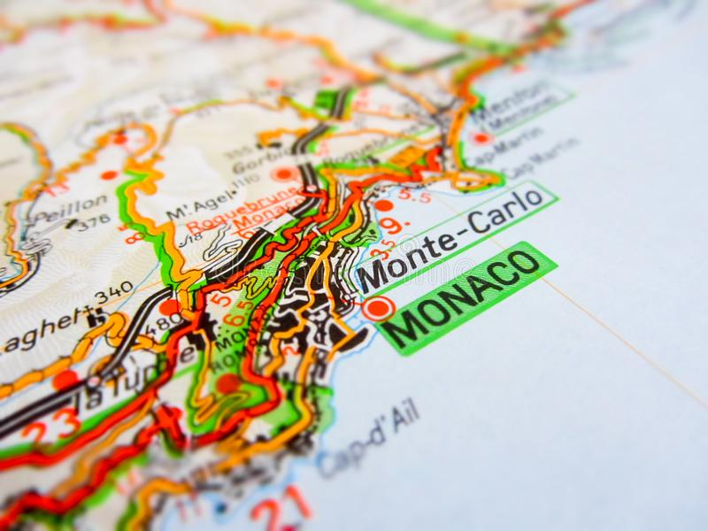Monaco City Over A Road Map ITALY Stock Photo Image of travel