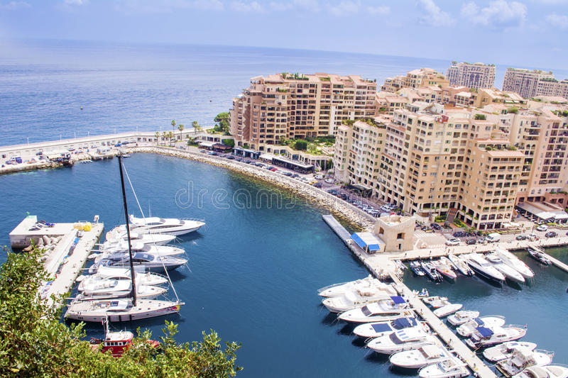 Monaco Fontvieille Cityscape .French Riviera Panorama. Monaco Fontvieille cityscape from above .Monte carlo panoramic view of marina and Fontvieille royalty free stock photo