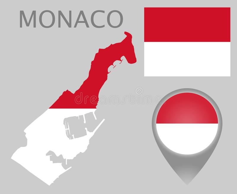 Monaco flag, map and map pointer stock illustration