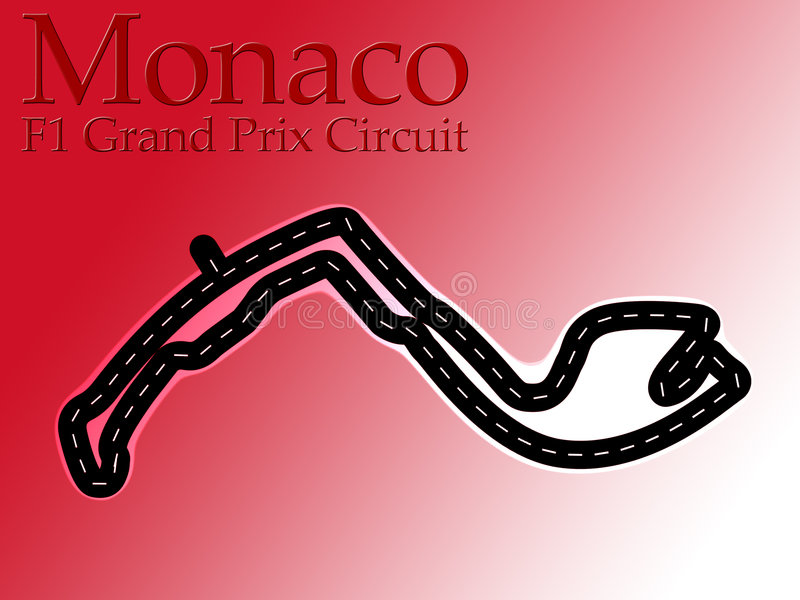 Monaco F1 Formula 1 Racing Circuit Map stock illustration