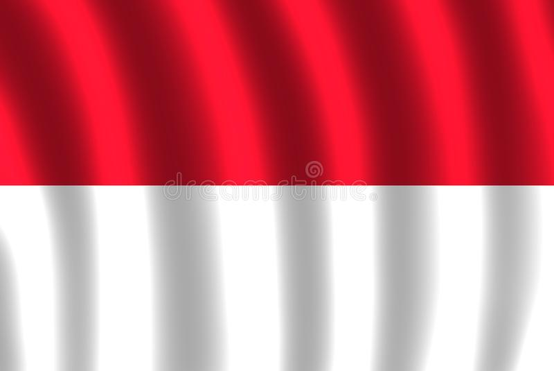 MONACO FLAG FLUTTERING. The national flag of Monaco French: Drapeau de Monaco has two equal horizontal bands of red top and white, both of which have been the royalty free illustration