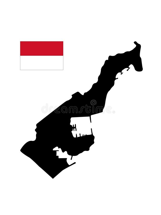 Monaco flag and map - Principality of Monaco. Vector file of Monaco flag and map - Principality of Monaco, sovereign city-state, country and microstate on the vector illustration