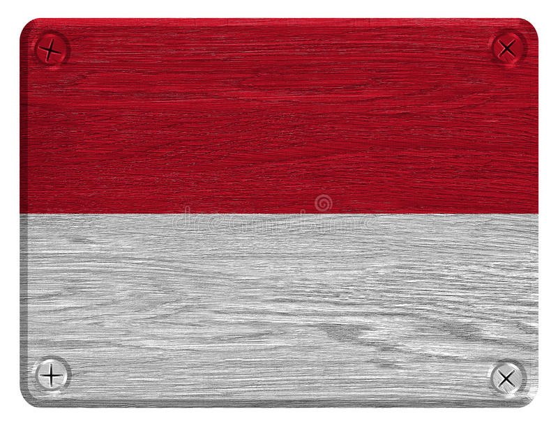 Monaco flag. Painted on wooden tag royalty free stock photos