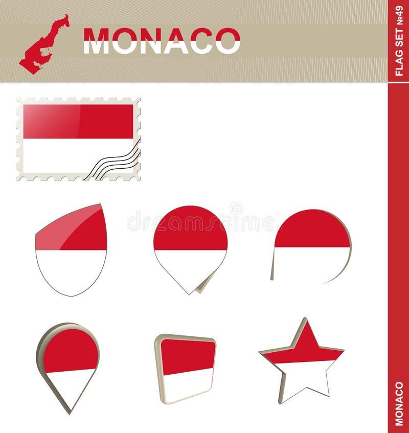 Monaco Flag Set, Flag Set #49. Vector stock illustration