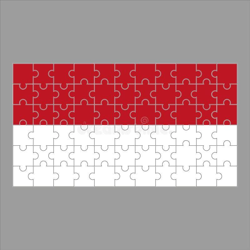 Monaco flagga av pusslet på en grå bakgrund stock illustrationer
