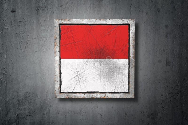 Monaco flagga i betongvägg vektor illustrationer