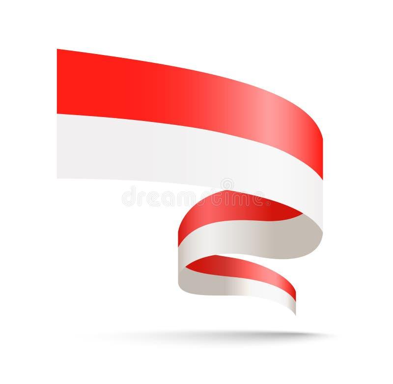 Monaco flagga i form av vågband stock illustrationer