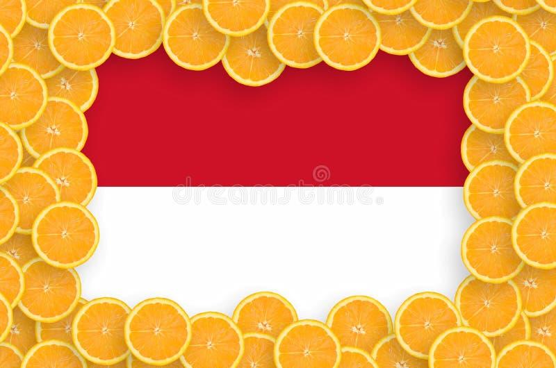 Monaco flagga i ny citrusfruktskivaram vektor illustrationer
