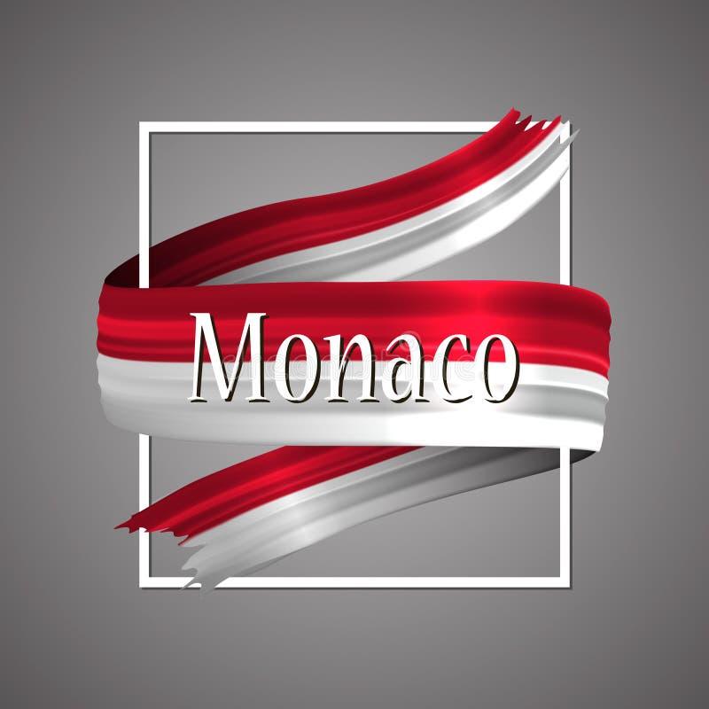 Monaco flagga Officiella medborgarefärger Band för band för Monaco ` s 3d realistiskt Bakgrund för vektorsymbolstecken royaltyfri illustrationer