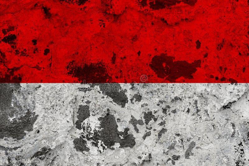 Monaco flagga på den gamla väggen royaltyfri illustrationer