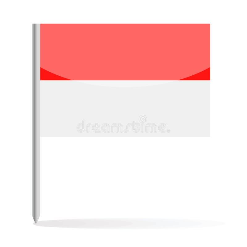 Monaco flagga Pin Vector Icon vektor illustrationer