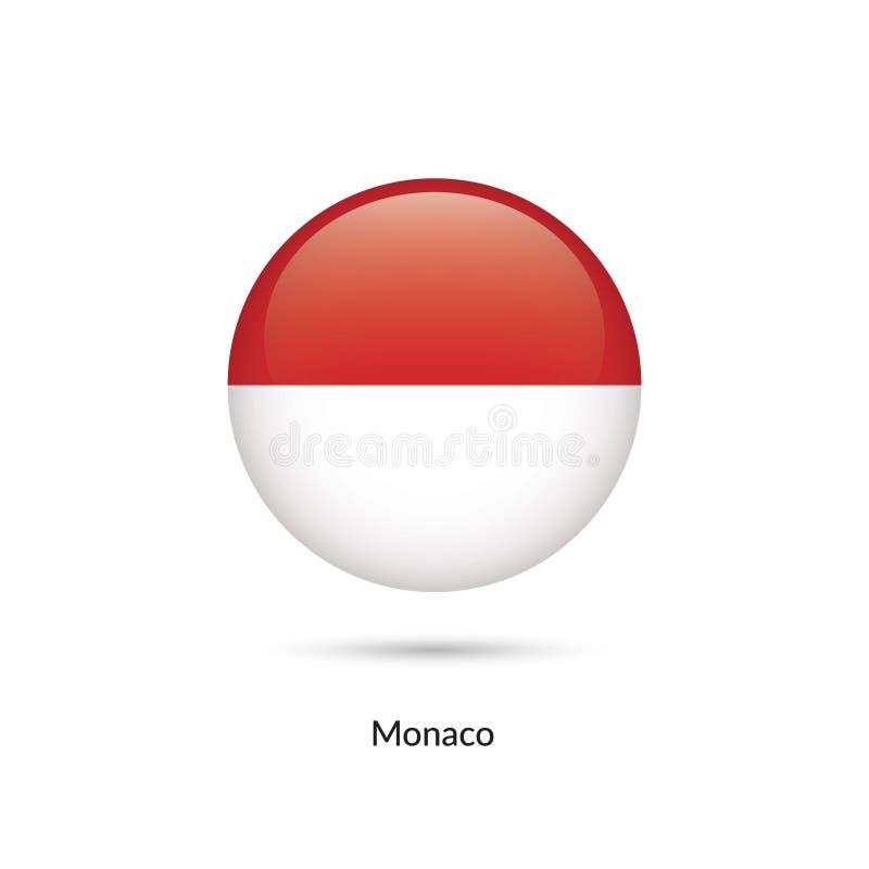 Monaco flagga - rund glansig knapp vektor illustrationer