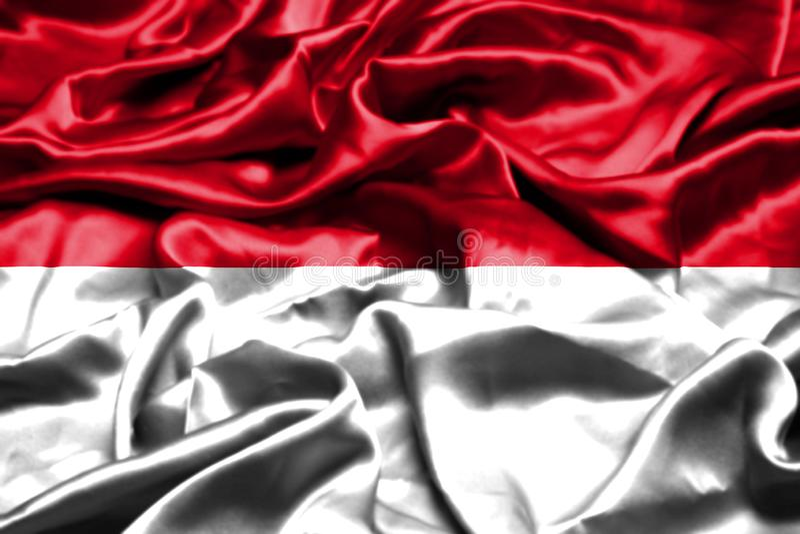 Monaco flagga som vinkar i vinden stock illustrationer
