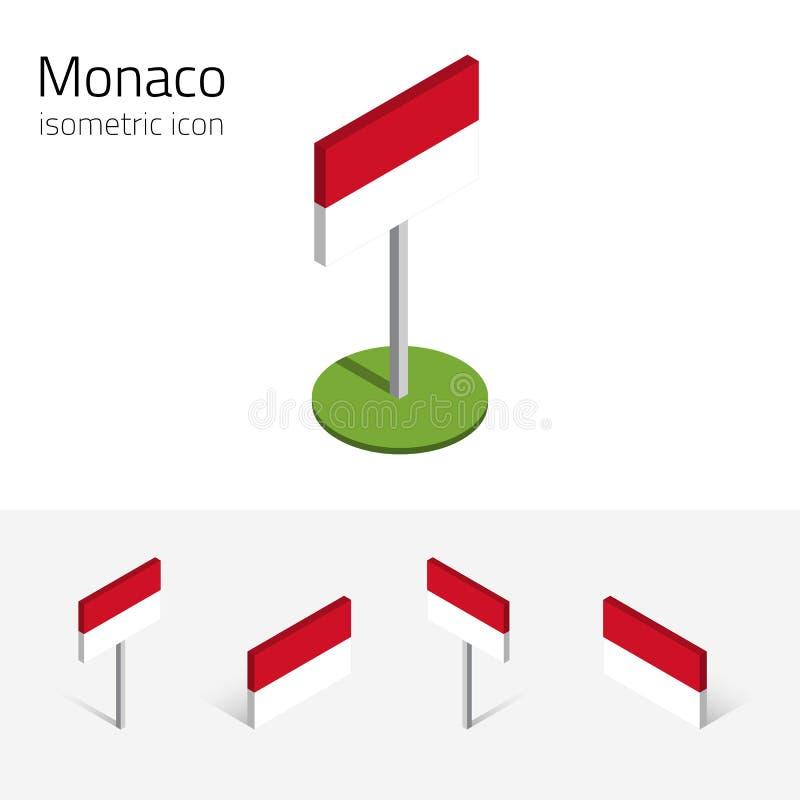 Monaco flagga, vektoruppsättning av isometriska symboler 3D royaltyfri illustrationer