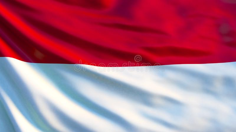 Monaco flagga Vinkande flagga av den Monaco 3d illustrationen royaltyfri illustrationer